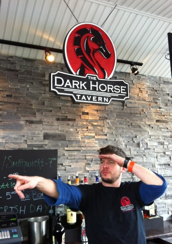 "Y27543 - ""Dark Horse"" Carved Tavern Sign, Installed as an Indoor  Hanging Sign over the Bar"