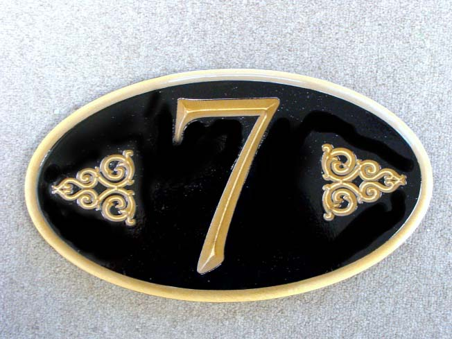 KA20866 - 3D Carved Unit Number Sign for Condominium, with 24K Gold Leaf Gilding