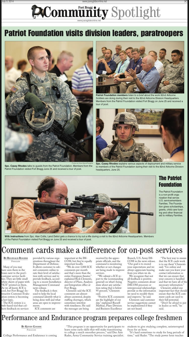 Patriot Foundation visits division leaders, paratroopers