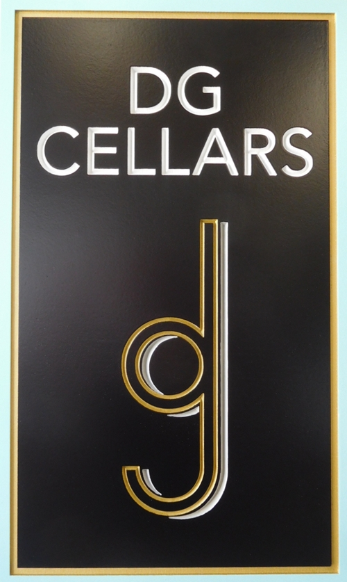 "R27030 -  Elegant Entrance Sign for  ""DG Cellars""  with a 2.5-D Engraved Prismatic  Text and Logo."