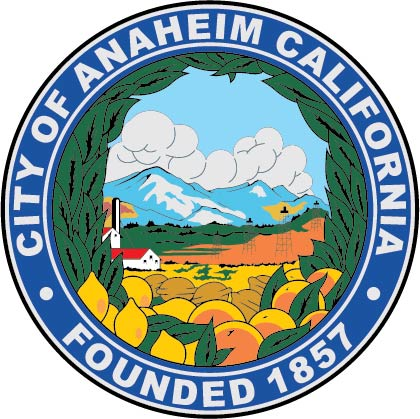 DP-1100 - Carved Plaque of the Seal of the City of Anaheim, California,  Artist Painted