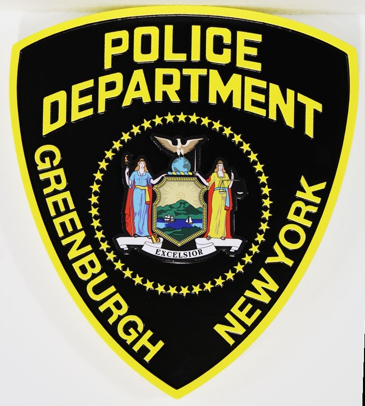 PP-2393 - Carved Plaque of the Shoulder Patch of the Police Department of Greenburg, New York State, 2.5-D Artist--Painted with Giclee Applique