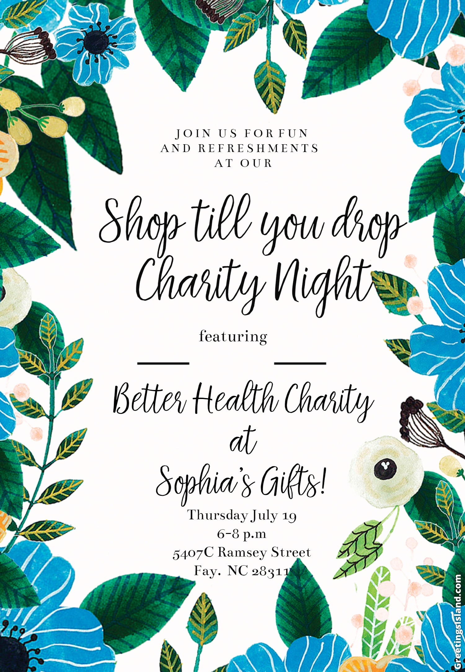 Charity Night at Sophia's Gifts 7/19!