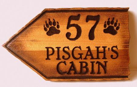 M22888  - Rustic Sandblasted Cedar Wood Cabin Directional Sign