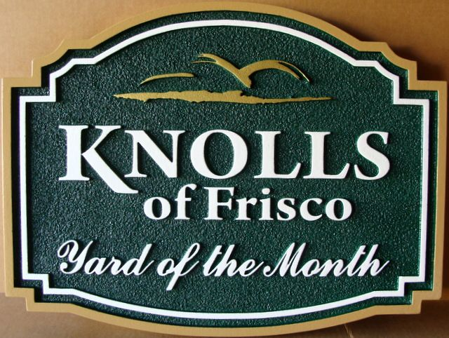 "KA20922 - Carved ""Knolls of Frisco"" HOA Yard-of-the-Month Sign, with Stylized Logo of Hills"