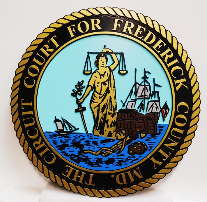 HP-1115 - Carved Seal of the Circuit Court  for  Frederick  County, 2.5-D Artist-Painted