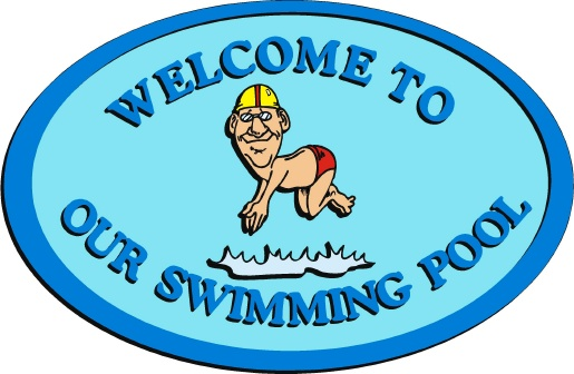 GB16757 - Design of an HDU Welcome Sign for a Swimming Pool with an Elderly Man Diving In