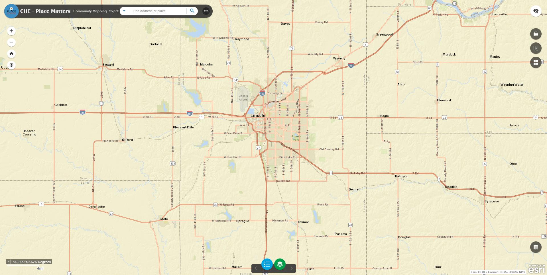 Map of Lincoln, Nebraska