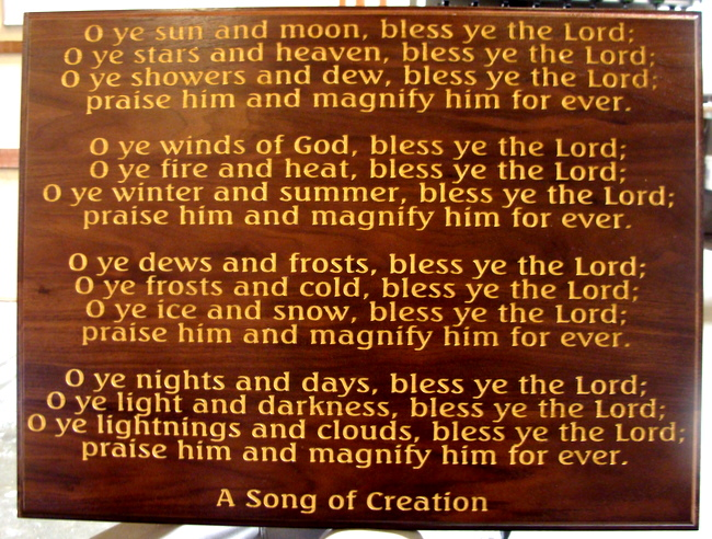 "D13201 - Engraved Stained Cherry Wood Wall Plaque for ""A Song of Creation"""