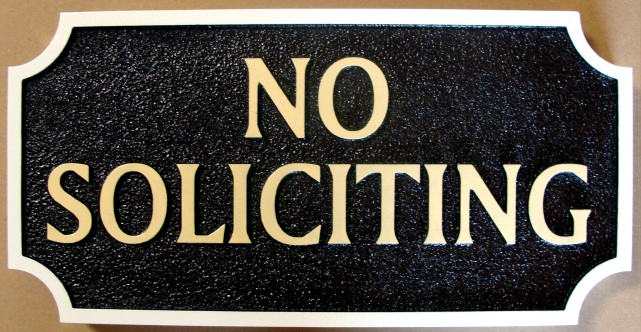 KA20745 - No Soliciting Wood Sign (Black & Gold)