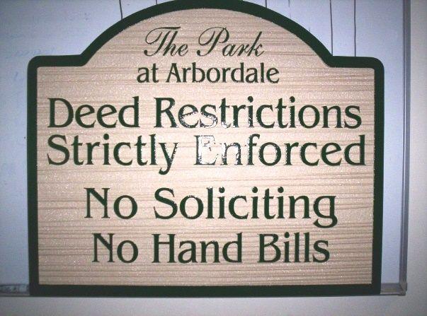 KA20730 - No Soliciting & Deed Restrictions Wood Sign