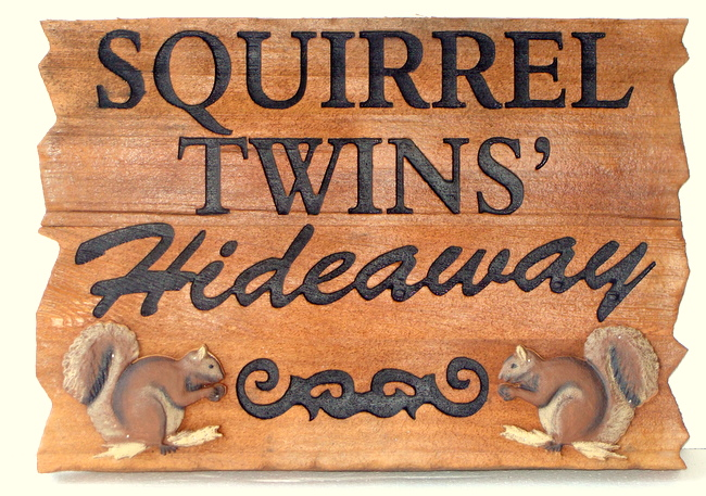 M22923- Two Squirrel Rustic Property Name Sign