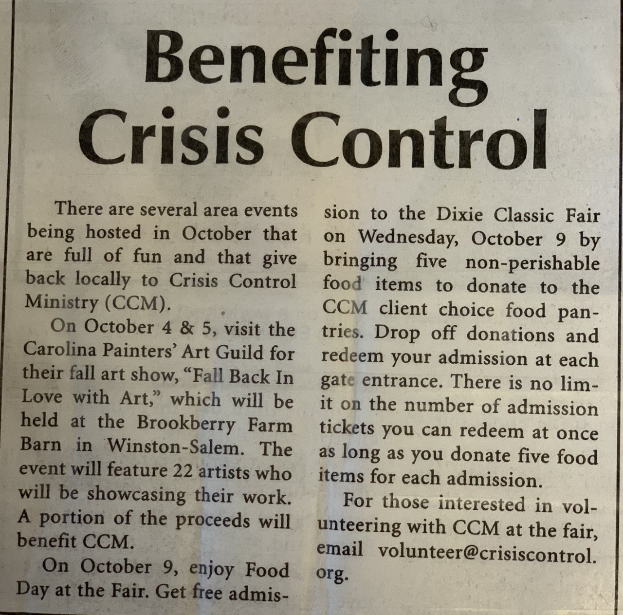 Kernersville News: Benefiting Crisis Control