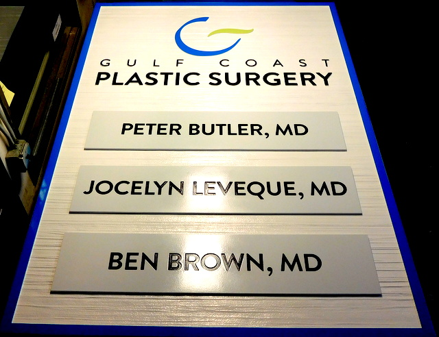 B11014 - Carved and Sandblasted High-Density-Urethane (HDU( Sign for  Gulf Coast Plastic Surgery