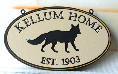 M22908 - Engraved Ellipse HDU Property Name Sign, with Coyote