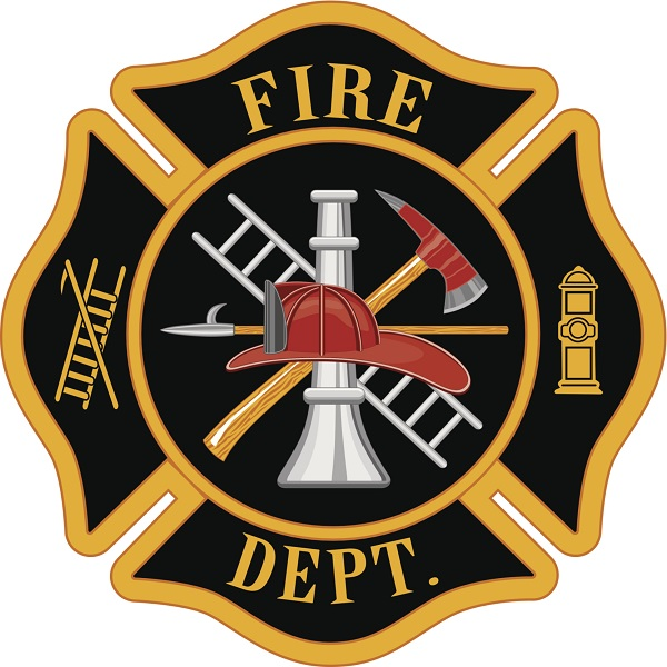QP-1100 - Carved Wall Plaque of  the Emblem/Badge of a Fire Department, Artist Painted