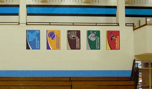 School gym with conference team boards, custom signs, display conference teams