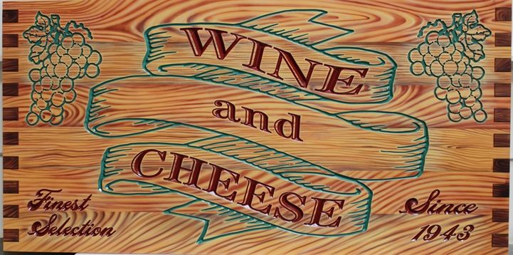 Q25626- Engraved  HDU Sign for Wine and Cheese Store,  with Painted Grapes and Faux Wood Grain as Artwork