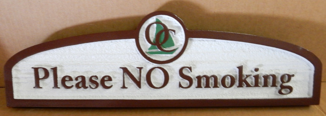 "Y27195 - Custom Carved ""No Smoking"" Sign"