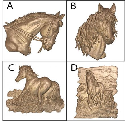 P25916 - Carved 3D Bas-relief Equine Heads and Gaits