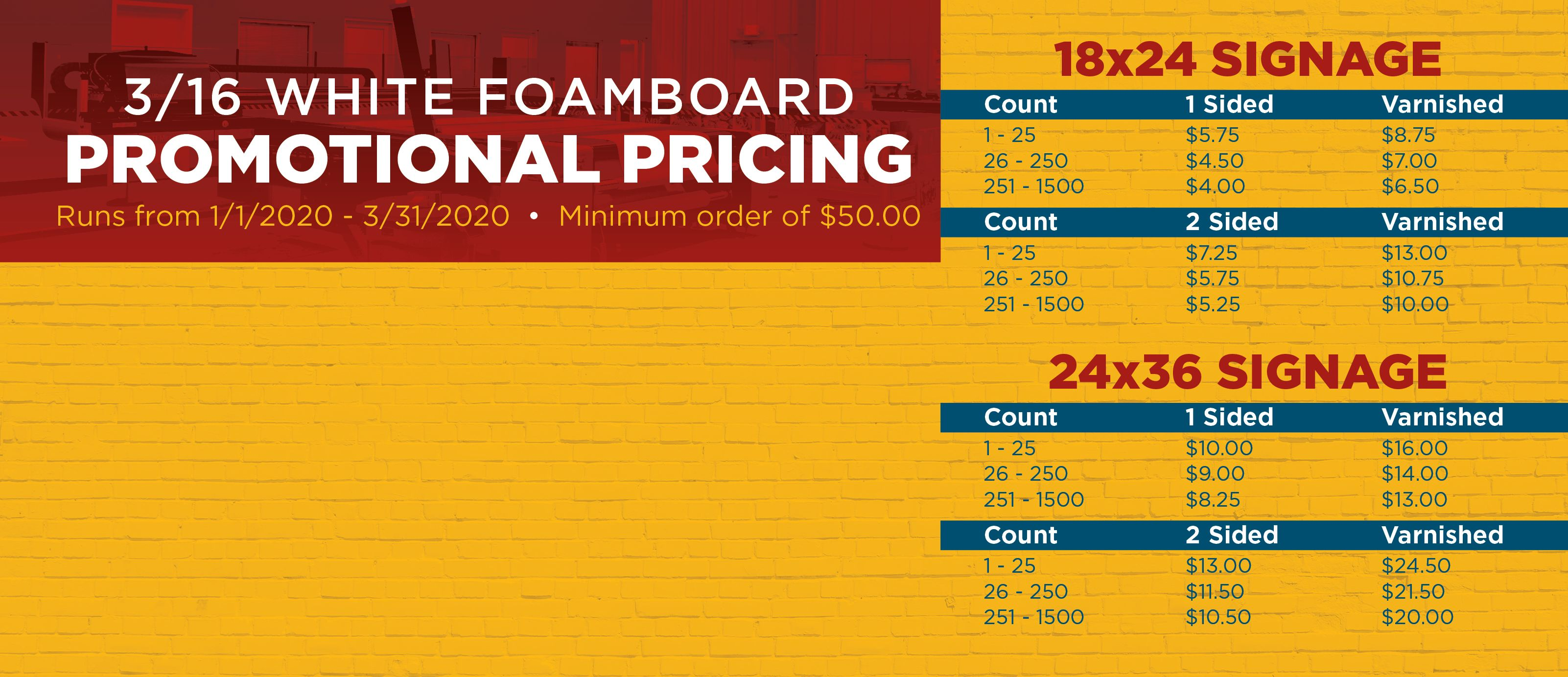 Promotional Foamboard Pricing