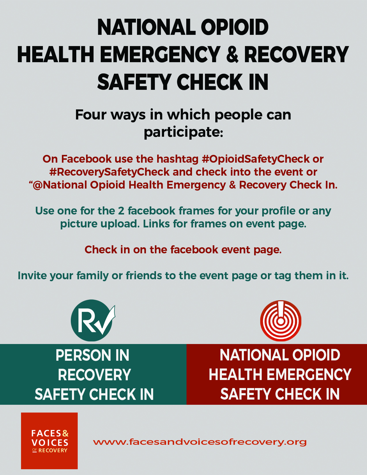 National Opioid Health Emergency & Recovery Safety Check In
