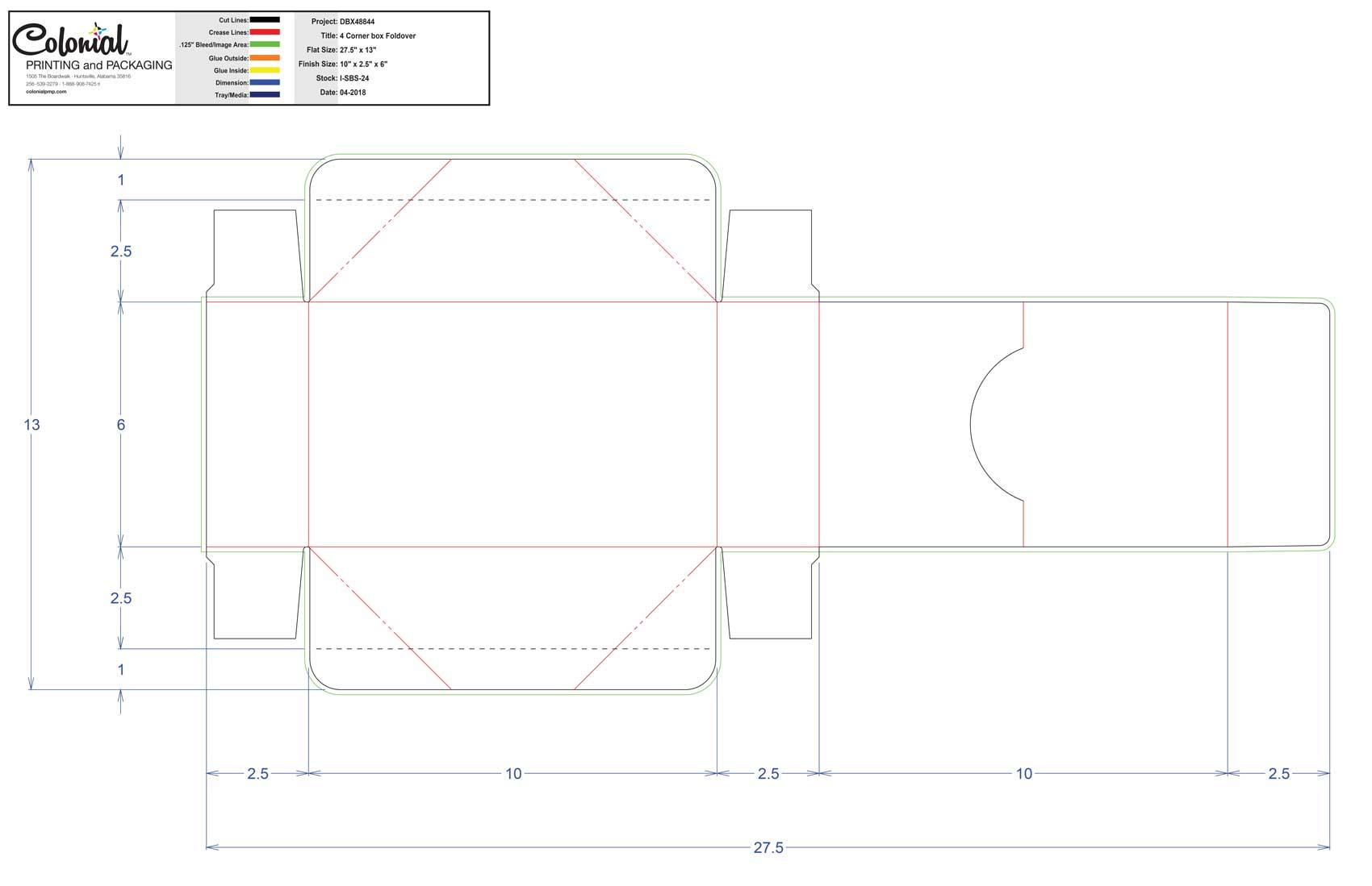 DBX48844 4 Corner Box Foldover