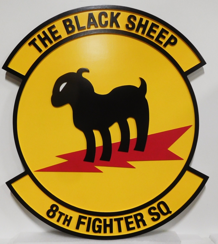 LP-2245 - Carved Plaque of the Crest of  Crest of the 8th Fighter Squadron, the Black Sheep, 2.5-D Artist-Painted