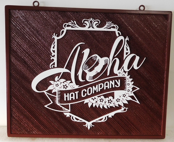 "S28036 -  Carved and Sandblasted Cedar Wood Hanging Commercial Sign for the ""Aloha Hat Company"" , 2.5-D Artist-Painted"
