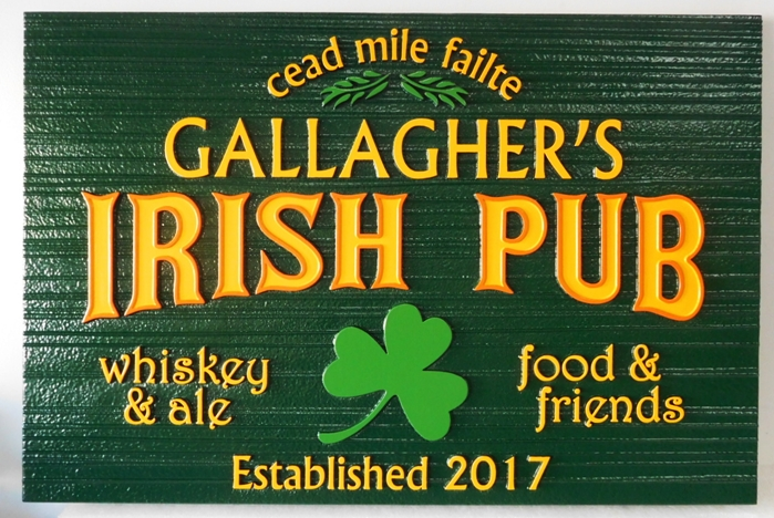 "RB27502 - Carved and Sandblasted Wood Grain HDU Sign for   ""Gallagher's Irish Pub"" , 2.5-D Artist-Painted with Shamrock as Artwork"