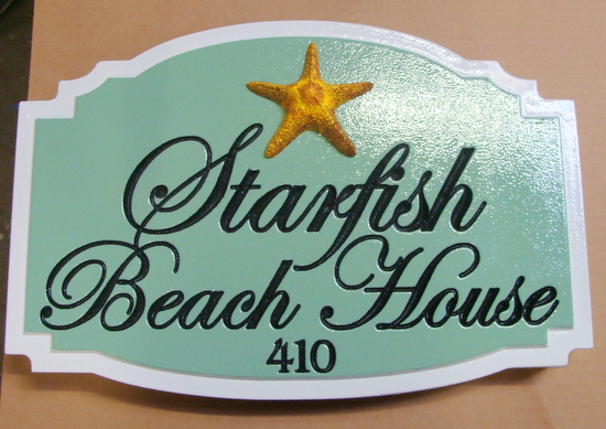 "L21508 -  Engraved ""Starfish Beach Home"", with 3-D Carved Starfish"