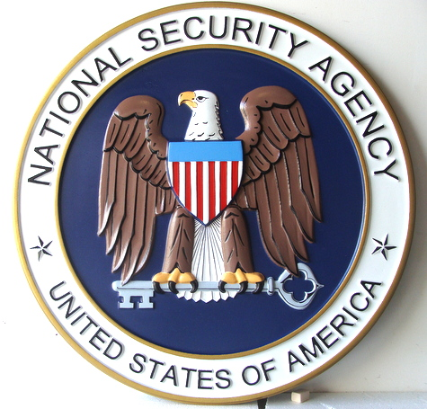 AP-3100 - Carved Plaque of the Seal of the US National Security Agency (NSA),  Artist Painted