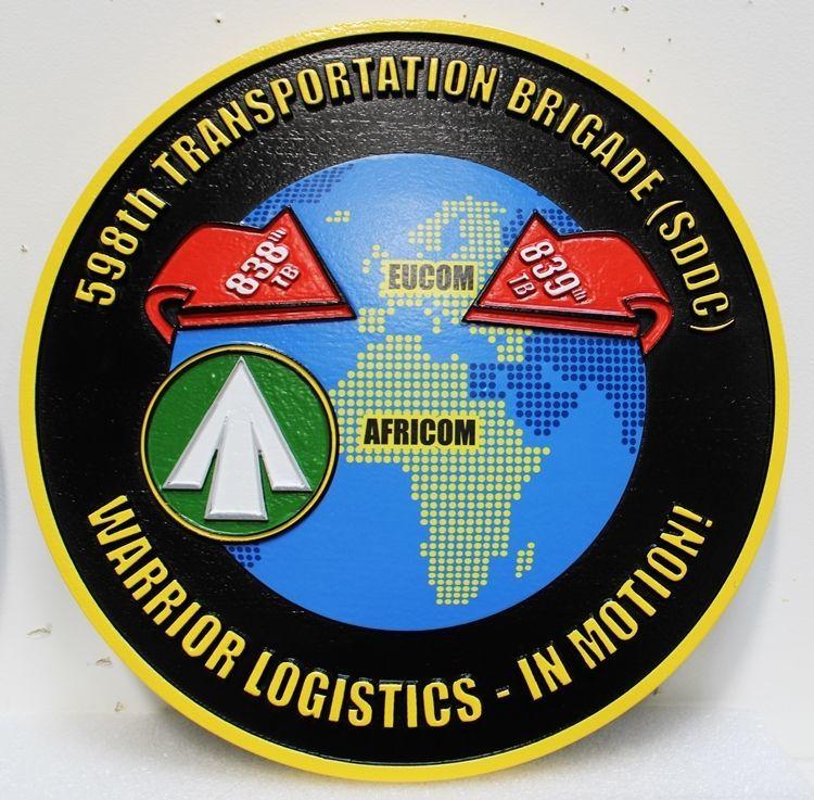 MP-1952 - Carved 2.5-D HDU Plaque of the Crest of the 598th Transportation Brigade, SDDC (Eucom & Africom),US Army