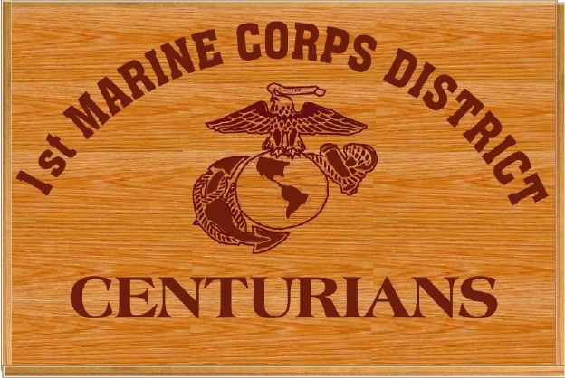 KP-2490 -  Carved Plaque, 1st Marine Corps District, Centurians, Red Oak Wood