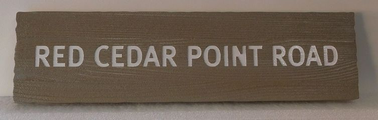 H17069 - Engraved and Sandblasted Western Red Cedar road  Name Sign, Red Cedar Point Road