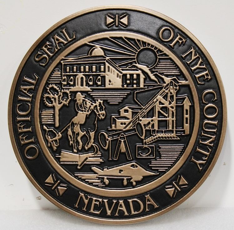 CP-1385 - Carved 2.5-D Bronze-Plated HDU Plaque of the Seal of the of Nye County, Nevada