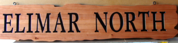 "M22030  Cedar Sign for Geographic Location or Direction to ""Elimar North"""