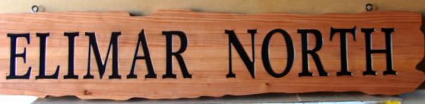 """M22030 -  Engraved  Cedar Sign """"Elimar North"""""""