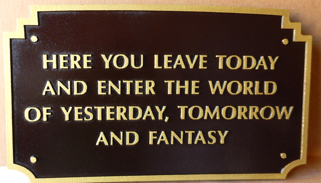 "M7432 -  Gold-Painted Wall Plaque with  ""World of Fantasy "" Text"