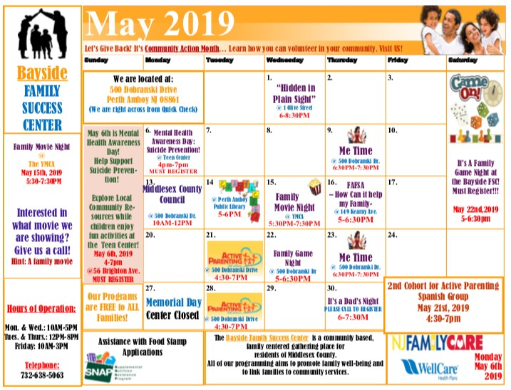 May 2019 Family Success Center Calendar