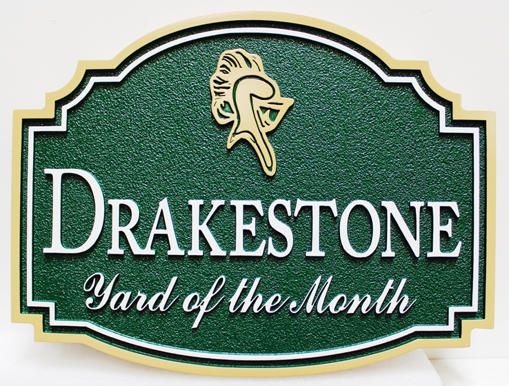 "K20952 -  Carved and Sandblasted HDU Yard-of-Month Sign, for ""Drakestone"" HOA, with Helmet as Artwork"