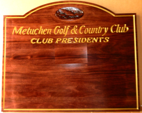 WM1560 - Golf Club Perpetual Plaque,  Engraved Stained Mahogany