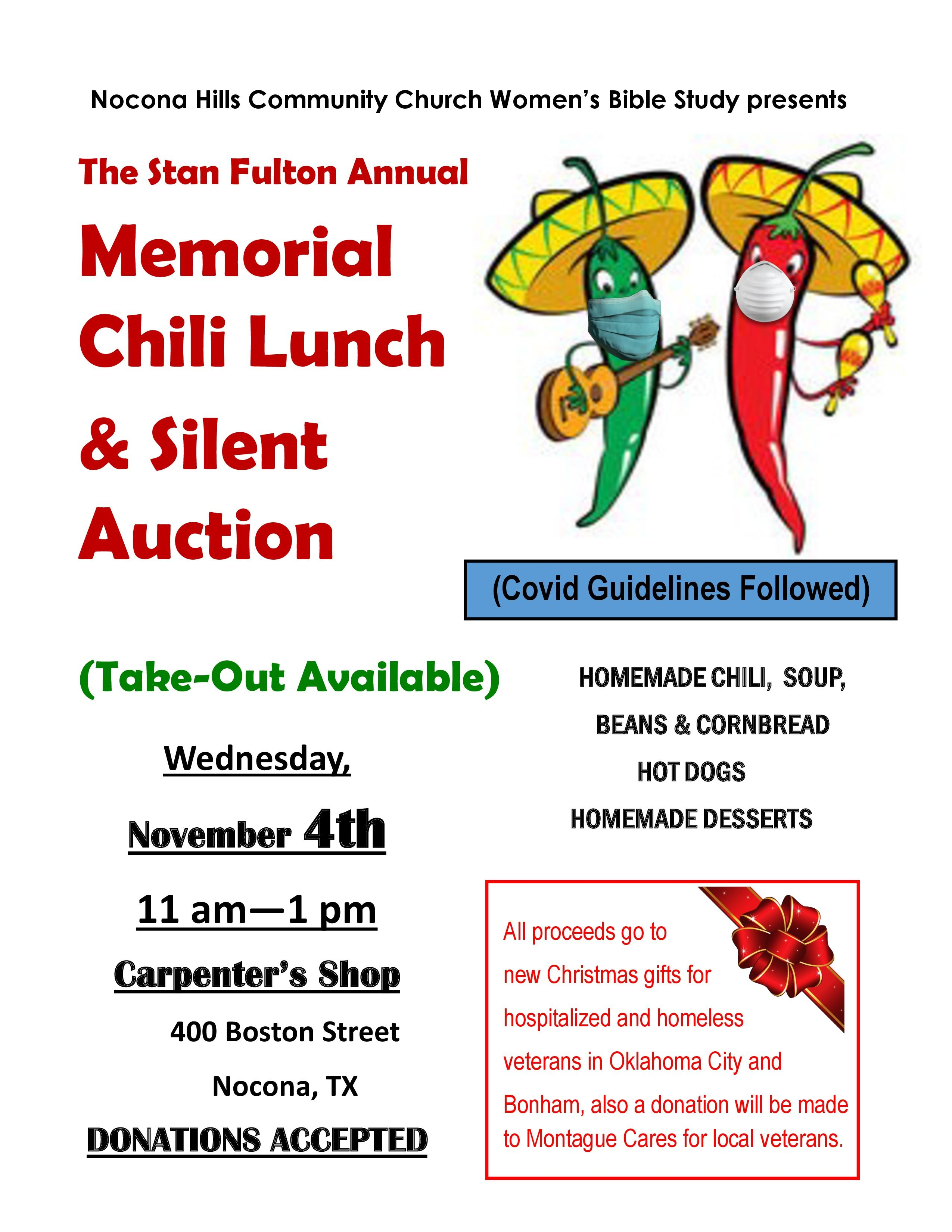 The Stan Fulton Annual Memorial Chili Lunch & Silent Auction