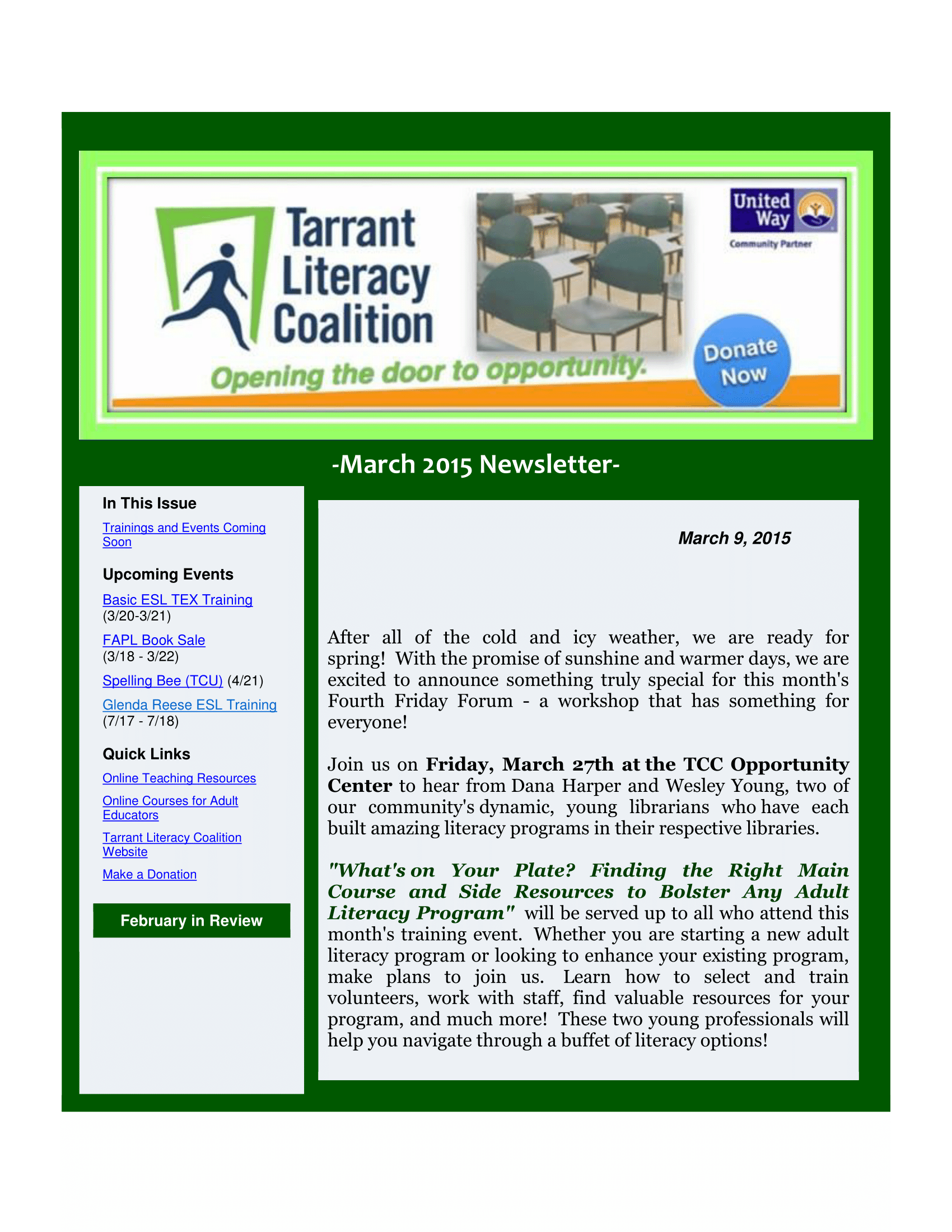 Tarrant literacy coalition newsletter archives esl training march 2015 newsletter 1betcityfo Images