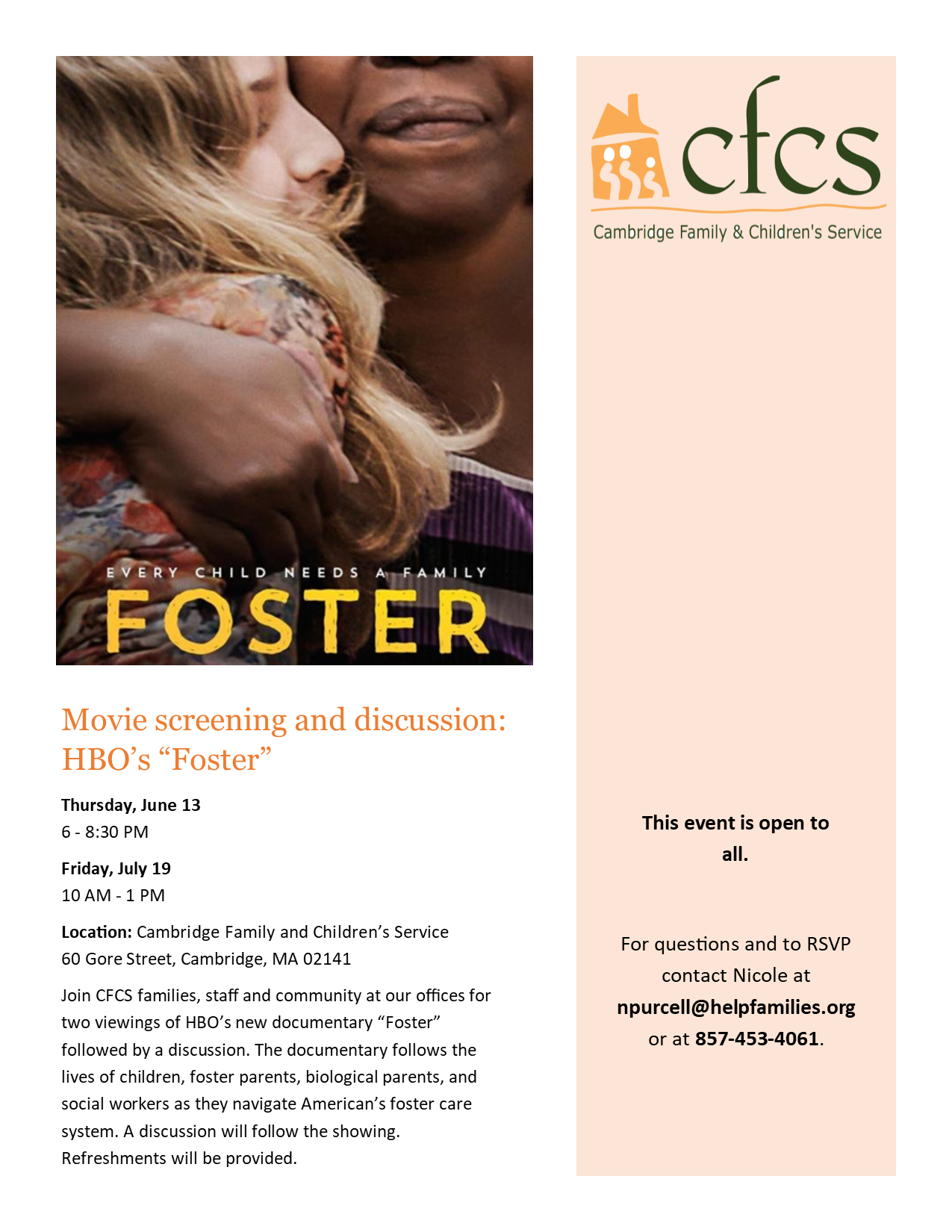 "Screening and Discussion of HBO Documentary ""Foster"""