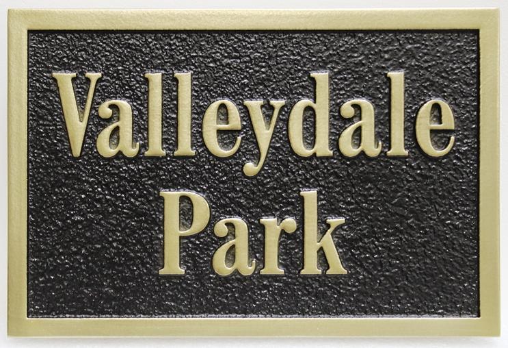 GA16511 - Carved and Sandblasted High-Density-Urethane (HDU) EntranceSign for Valleydale Park.