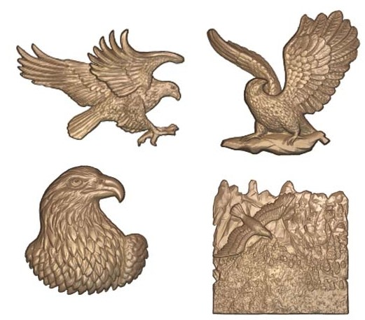 M22976 - 3D Carved Wood or HDU Appliques for Signs & Plaques - Eagles