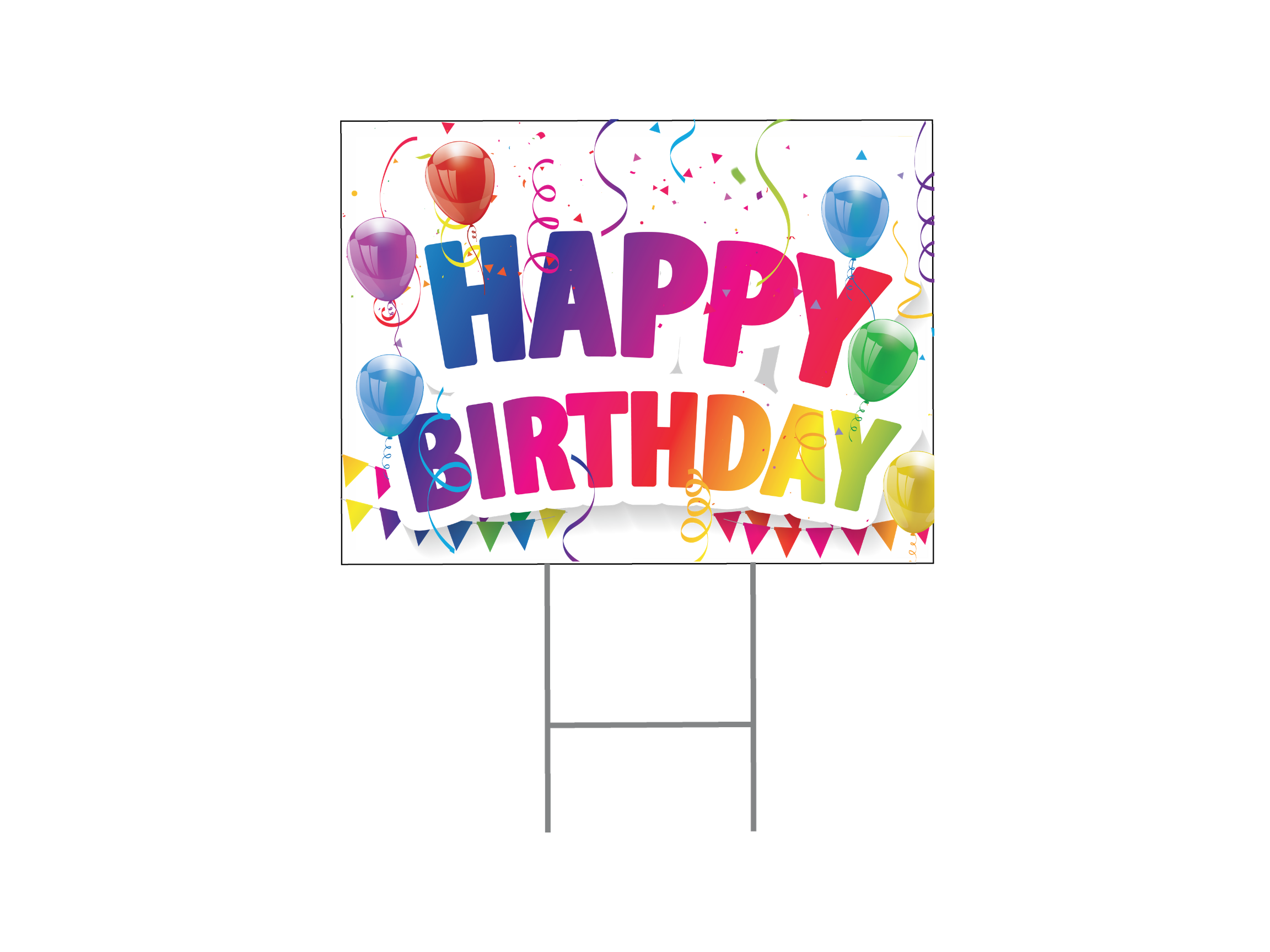 Happy Birthday Yard Sign - Bubble Letters
