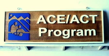 """SA28478 - Wooden Sandblasted """"College Testing-ACE/ACT Program"""" Business Sign"""