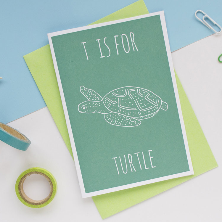 T is for Turtle Greeting Card with Envelope by Darwin Designs